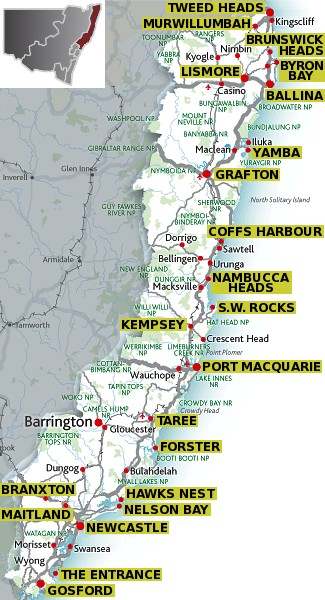 Nsw North Coast Map North Coast   Travel NSW: accommodation & visitor guide